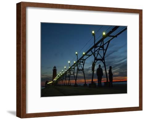 Grand Haven Pier on Lake Michigan at Twilight-Karen Kasmauski-Framed Art Print