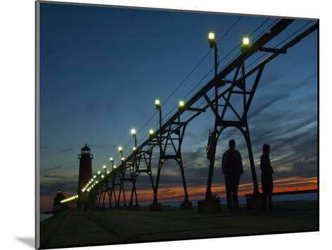 Grand Haven Pier on Lake Michigan at Twilight-Karen Kasmauski-Mounted Photographic Print