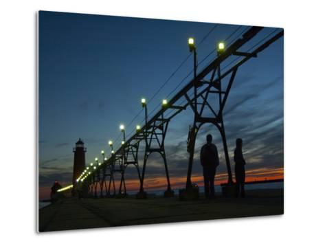 Grand Haven Pier on Lake Michigan at Twilight-Karen Kasmauski-Metal Print