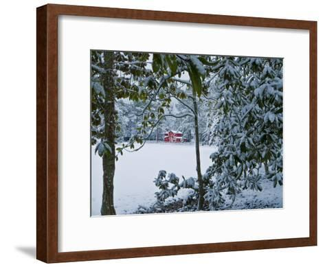 Snowy Landscape with a Red Barn and Magnolia Trees-Brian Gordon Green-Framed Art Print