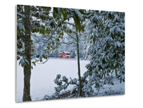 Snowy Landscape with a Red Barn and Magnolia Trees-Brian Gordon Green-Metal Print