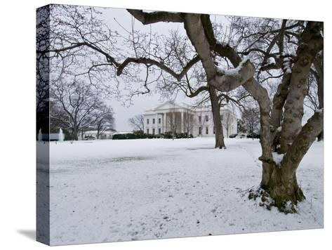 Snow on the White House Lawn-Brian Gordon Green-Stretched Canvas Print