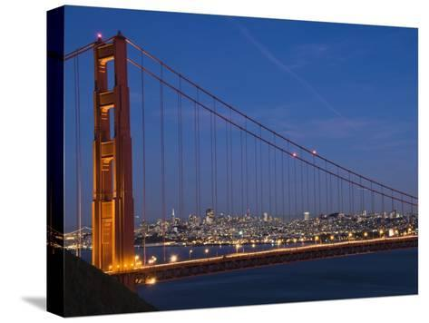 Golden Gate Bridge and San Francisco at Night-James Forte-Stretched Canvas Print