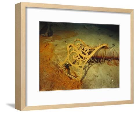 "Metal Deck Bench Frame of the R.M.S. ""Titanic"" Seen Amid Wreckage on Ocean Floor-Emory Kristof-Framed Art Print"