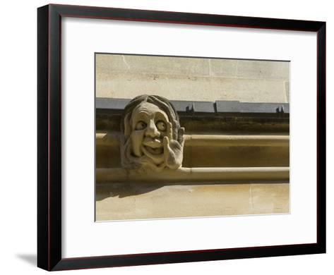 Sandstone Sculpture of a Funny Face, on the Wall of a Building-Joe Petersburger-Framed Art Print