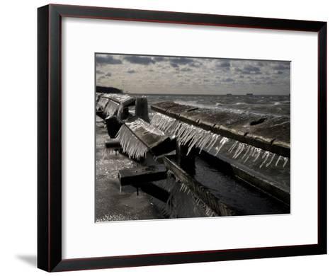 Windblown Icicles Coat a Pier on a Chesapeake Bay Winter Day-Stephen St^ John-Framed Art Print