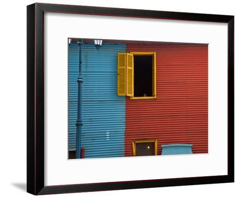 A Building in the La Boca Neighborhood of Buenos Aires-Michael S^ Lewis-Framed Art Print