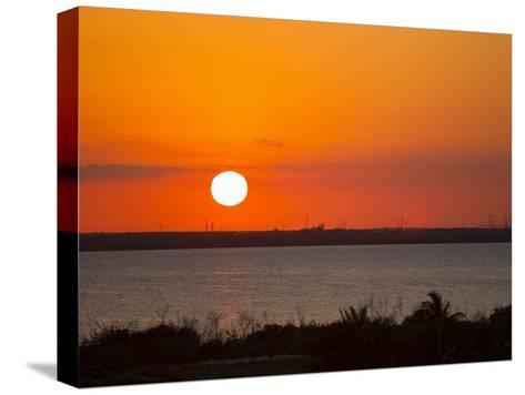 Dramatic Sunset over the Mainland in Cancun, Mexico-Mike Theiss-Stretched Canvas Print