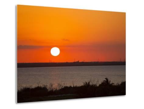 Dramatic Sunset over the Mainland in Cancun, Mexico-Mike Theiss-Metal Print
