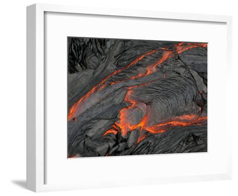 Molten Magma Glows under a Dark Crust of Hardened Lava-Patrick McFeeley-Framed Art Print