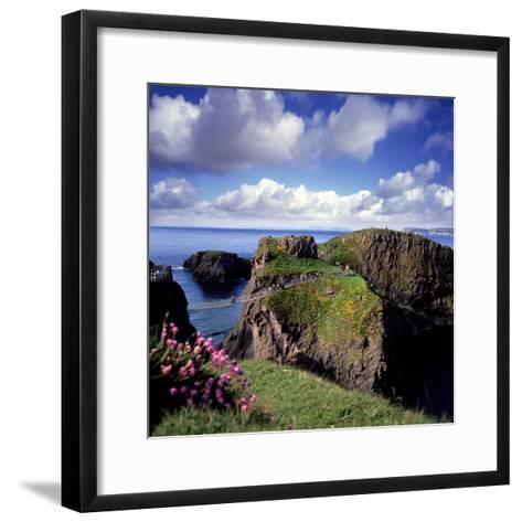 Crossing Carrick-A-Rede Rope Bridge on the North Antrim Coast-Chris Hill-Framed Art Print