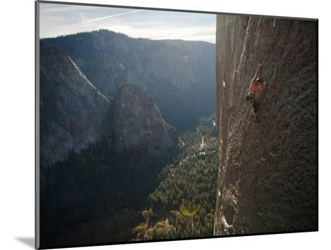 A Climber, Without a Rope, Grips an Expanse of El Capitan-Jimmy Chin-Mounted Photographic Print