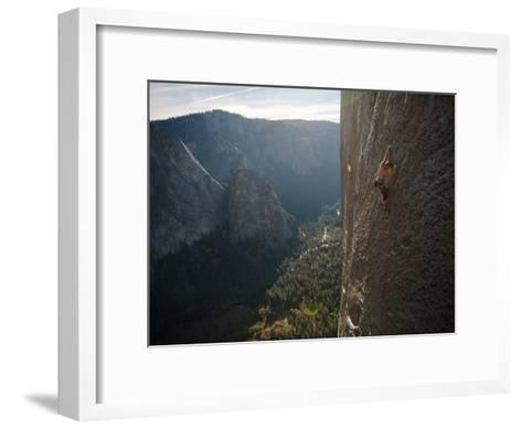 A Climber, Without a Rope, Grips an Expanse of El Capitan-Jimmy Chin-Framed Art Print