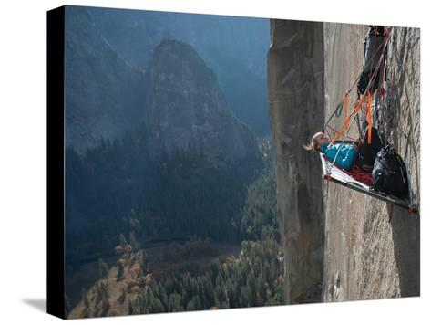 A Climber Reclines on a Hanging Camp on El Capitan-Jimmy Chin-Stretched Canvas Print