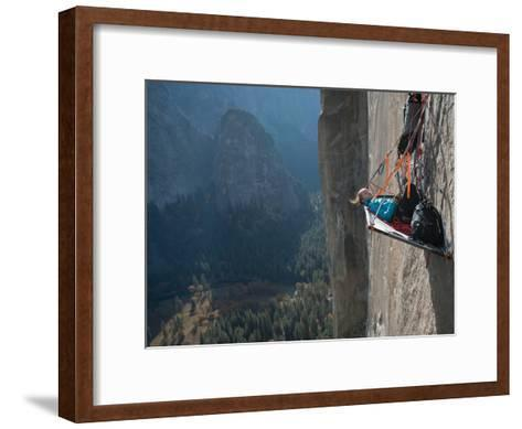 A Climber Reclines on a Hanging Camp on El Capitan-Jimmy Chin-Framed Art Print