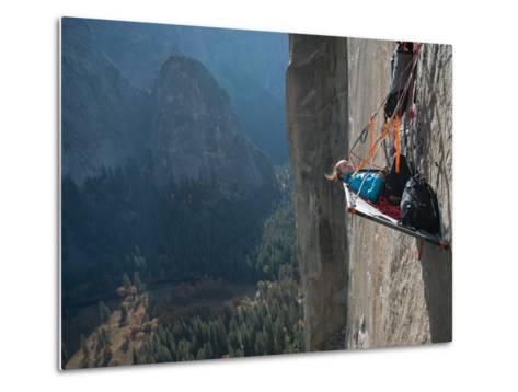 A Climber Reclines on a Hanging Camp on El Capitan-Jimmy Chin-Metal Print