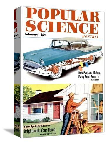 Front cover of Popular Science Magazine: February 1, 1950--Stretched Canvas Print