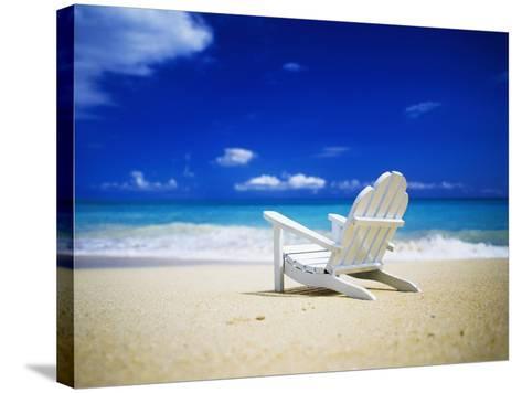 Beach Chair on Empty Beach-Randy Faris-Stretched Canvas Print