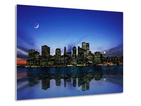 Manhattan Skyline and Reflection-Bill Ross-Metal Print
