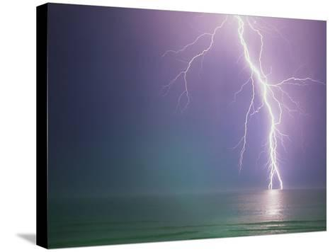 Lightning Storm over Ocean-Peter Wilson-Stretched Canvas Print