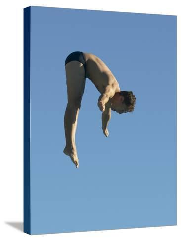 Profile shot of a young man diving--Stretched Canvas Print