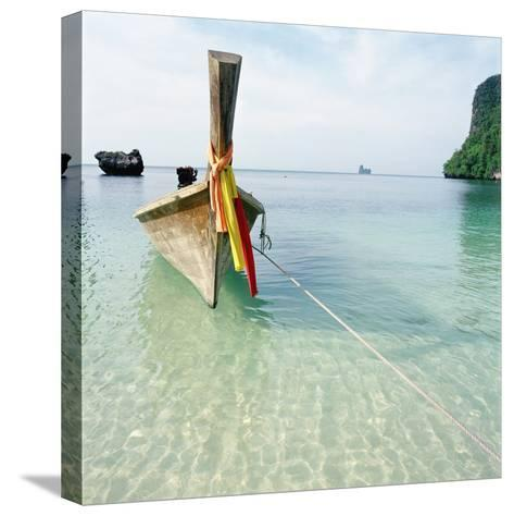 Traditional long tail boat, Thailand--Stretched Canvas Print