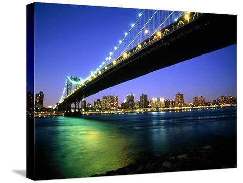 Manhattan Bridge and Skyline at Dusk-Alan Schein-Stretched Canvas Print