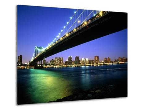 Manhattan Bridge and Skyline at Dusk-Alan Schein-Metal Print