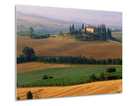 Italy, Tuscany, Val d'Orcia, fields at sunrise-Sergio Pitamitz-Metal Print
