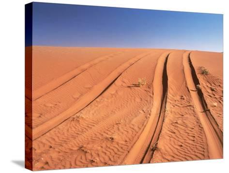 Tyre marks in the desert--Stretched Canvas Print