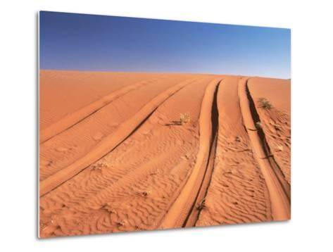 Tyre marks in the desert--Metal Print