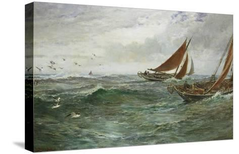 In the Track of the Trawlers-Charles Napier Hemy-Stretched Canvas Print