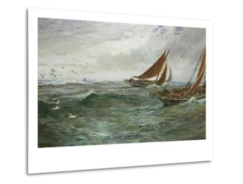 In the Track of the Trawlers-Charles Napier Hemy-Metal Print