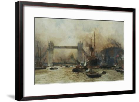 Shipping by Tower Bridge, London, England-Charles Dixon-Framed Art Print