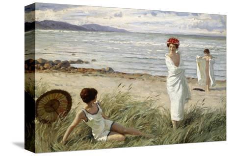 After the Swim at Hornbaek Beach, Denmark-Paul Fischer-Stretched Canvas Print