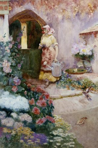 In the Garden-David Woodlock-Stretched Canvas Print