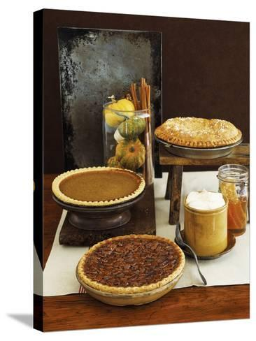 Autumn Pies: Apple/Pear, Pumpkin, and Pecan with Honey and Whipped Cream-Envision-Stretched Canvas Print