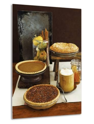 Autumn Pies: Apple/Pear, Pumpkin, and Pecan with Honey and Whipped Cream-Envision-Metal Print