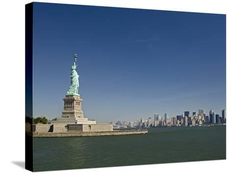 Statue of Liberty, Liberty Island and New York Skyline-Tom Grill-Stretched Canvas Print