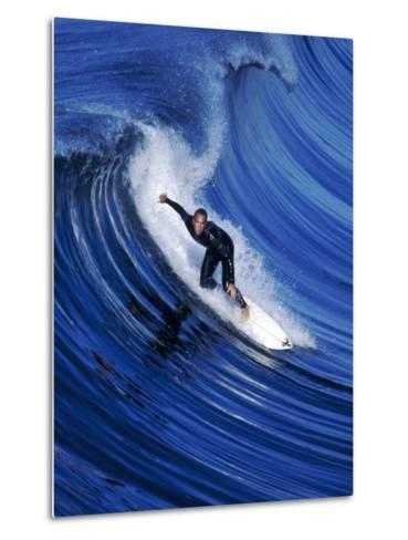 Surfer Riding a Wave-David Pu'u-Metal Print