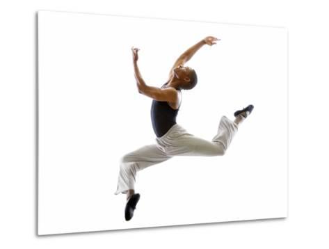 Ballet Dancer Mid-air in Jump-Tim Pannell-Metal Print