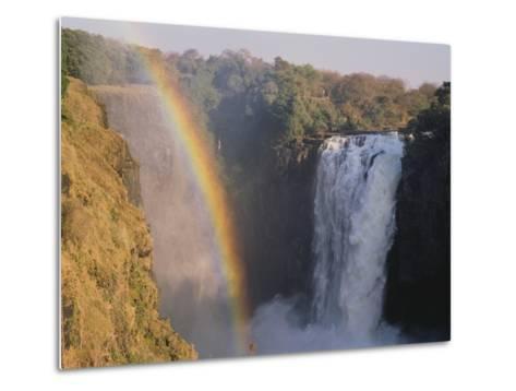 Rainbow Over Victoria Falls--Metal Print