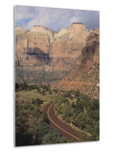 Curving Rural Road--Metal Print