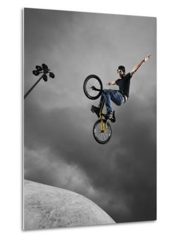 BMX Biker Performing Tricks--Metal Print