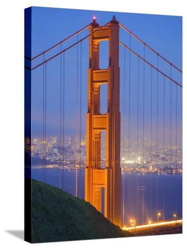Tower of Golden Gate Bridge and San Francisco at Dusk-Julie Eggers-Stretched Canvas Print