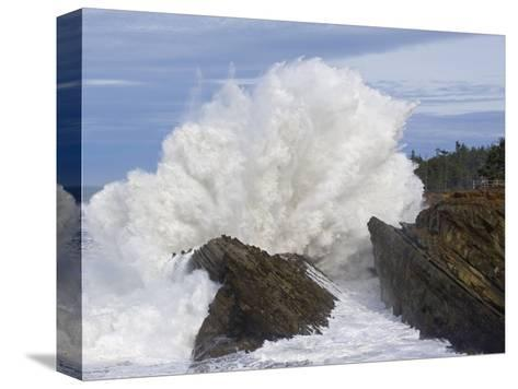 Waves Crashing on Rocks-Craig Tuttle-Stretched Canvas Print