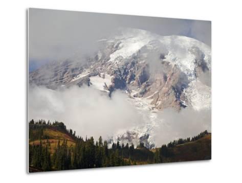 Mount Rainier in the Clouds-Craig Tuttle-Metal Print