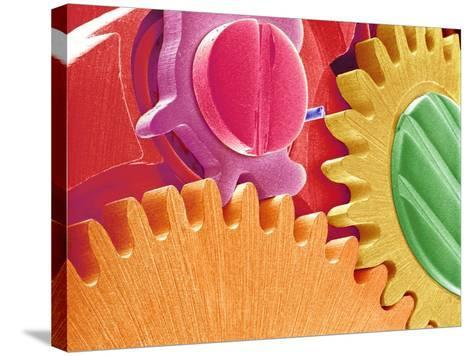 Multicolored Watch Gears-Micro Discovery-Stretched Canvas Print