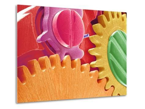 Multicolored Watch Gears-Micro Discovery-Metal Print