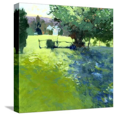 Field with House-Lou Wall-Stretched Canvas Print